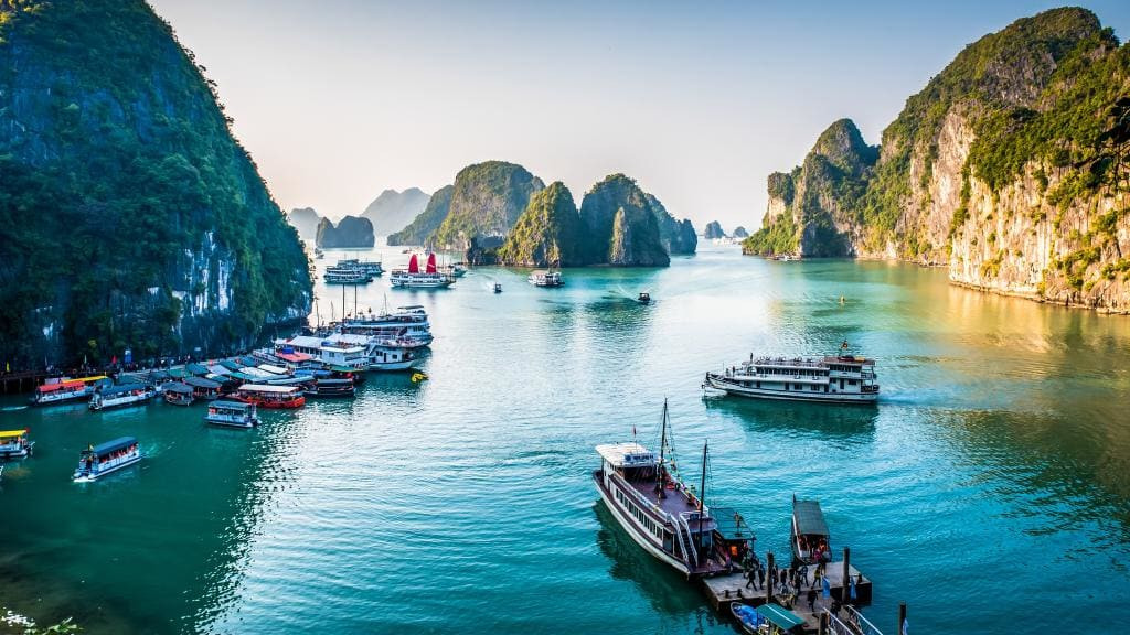 The World Heritage Site Ha Long Bay with Seaplane