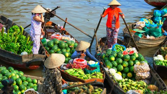 Colorful floating market on Mekong river